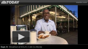 Al Roker enjoying beignets at Cafe du Monde